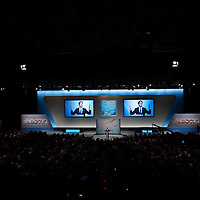 Labour leader ED MILIBAND delivers his leader's speech during the Labour Party Conference at the ACC Liverpool.