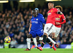Ngolo Kante of Chelsea Battles for the ball with Anthony Martial of Manchester United - Mandatory by-line: Alex James/JMP - 05/11/2017 - FOOTBALL - Stamford Bridge - London, England - Chelsea v Manchester United - Premier League