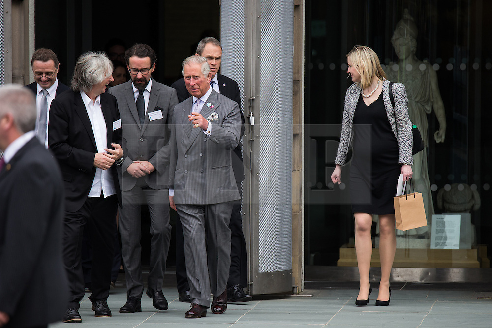 © Licensed to London News Pictures . 14/05/2015 . Liverpool , UK . The Prince of Wales talking to TV Producer Phil Redmond as he leaves a visit with the Duchess of Cornwall to the World Museum in Liverpool . Photo credit : Joel Goodman/LNP