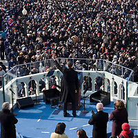 President Barack Obama delivers his Inaugural address after being sworn-in as the 44th President of the United States of America. US Capitol, Washington, DC. 1/20/09. Photo by Lisa Quinones/Black Star.