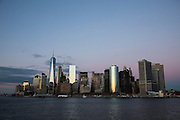 The famous skyscraper skyline of Lower Manhattan at sunset photographed from a Staten Island Ferry in Upper Bay, New York City, New York, United States of America.  (photo by Andrew Aitchison / In pictures via Getty Images)