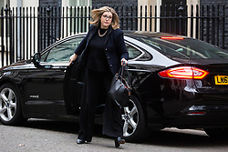London, UK. 15th January, 2019. Penny Mordaunt MP, Secretary of State for International Development, arrives at 10 Downing Street for a Cabinet meeting on the day of the vote in the House of Commons on Prime Minister Theresa May's proposed final Brexit withdrawal agreement.