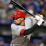 NEW YORK, NEW YORK - APRIL 26:  Billy Hamilton #6 of the Cincinnati Reds batting during the New York Mets Vs Cincinnati Reds MLB regular season game at Citi Field on April 26, 2016 in New York City. (Photo by Tim Clayton/Corbis via Getty Images)
