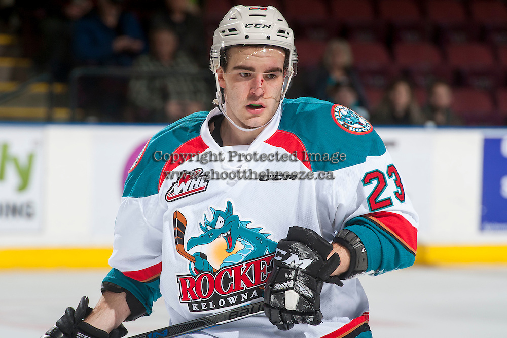 KELOWNA, CANADA - MARCH 1: Reid Gardiner #23 of the Kelowna Rockets skates to the bench after a high stick call against the Prince George Cougars on MARCH 1, 2017 at Prospera Place in Kelowna, British Columbia, Canada.  (Photo by Marissa Baecker/Shoot the Breeze)  *** Local Caption ***