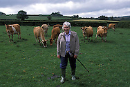 Babara Lake at her farm in Cornwall, UK. For a story on Clotted Cream..Photo©Steve Forrest/Insight-Visual