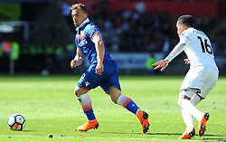 Xherdan Shaqiri of Stoke City gets past Martin Olsson of Swansea City -Mandatory by-line: Nizaam Jones/JMP- 13/05/2018 - FOOTBALL - Liberty Stadium - Swansea, Wales - Swansea City v Stoke City - Premier League