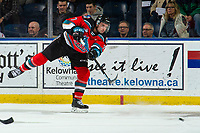 KELOWNA, BC - NOVEMBER 8:  Carson Sass #7 of the Kelowna Rockets passes the puck against the Medicine Hat Tigers at Prospera Place on November 8, 2019 in Kelowna, Canada. (Photo by Marissa Baecker/Shoot the Breeze)