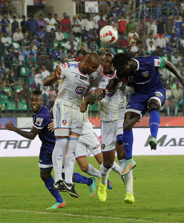 Bernard Mendy of Chennaiyin FC tries to score a goal during match 50 of the Hero Indian Super League between Chennaiyin FC and FC Goa held at the Jawaharlal Nehru Stadium, Chennai, India on the 5th December 2014.<br /> <br /> Photo by:  Vipin Pawar/ ISL/ SPORTZPICS