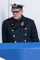 © Licensed to London News Pictures. 12/11/2017. London, UK. The DUKE OF EDINBURGH attends a Remembrance Day Ceremony at the Cenotaph war memorial in London, United Kingdom, on November 13, 2016 . Thousands of people honour the war dead by gathering at the iconic memorial to lay wreaths and observe two minutes silence. Photo credit: Ray Tang/LNP