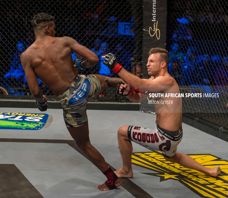 JOHANNESBURG, SOUTH AFRICA - MAY 13: Alain Ilunga knocks out Barend Nienaber during EFC 59 Fight Night at Carnival City on May 13, 2017 in Johannesburg, South Africa. (Photo by Anton Geyser/EFC Worldwide/Gallo Images)