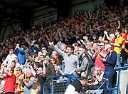 12th May 2018, Dens Park, Dundee, Scotland; Scottish Premier League football, Dundee versus Partick Thistle; Partick Thistle fans celebrate Kris Doolan's goal