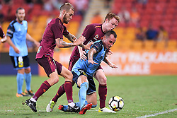 January 8, 2018 - Brisbane, QUEENSLAND, AUSTRALIA - Luke Wilkshire of Sydney (26, right) is fouled by Corey Brown of the Roar (5, 2nd right) during the round fifteen Hyundai A-League match between the Brisbane Roar and Sydney FC at Suncorp Stadium on Monday, January 8, 2018 in Brisbane, Australia. (Credit Image: © Albert Perez via ZUMA Wire)