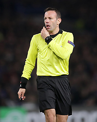 Referee Orel Grinfeld during the UEFA Europa League round of 32 second leg match at Stamford Bridge, London.