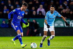 James Maddison of Leicester City takes on Riyad Mahrez of Manchester City - Mandatory by-line: Robbie Stephenson/JMP - 18/12/2018 - FOOTBALL - King Power Stadium - Leicester, England - Leicester City v Manchester City - Carabao Cup Quarter Finals
