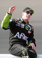 Nov. 12 2011; Avondale, AZ, USA; NASCAR Sprint Cup Series driver Carl Edwards (99) reacts on pit road during qualifying for the Kobalt Tool 500 at Phoenix International Raceway. Mandatory Credit: Jennifer Stewart-US PRESSWIRE