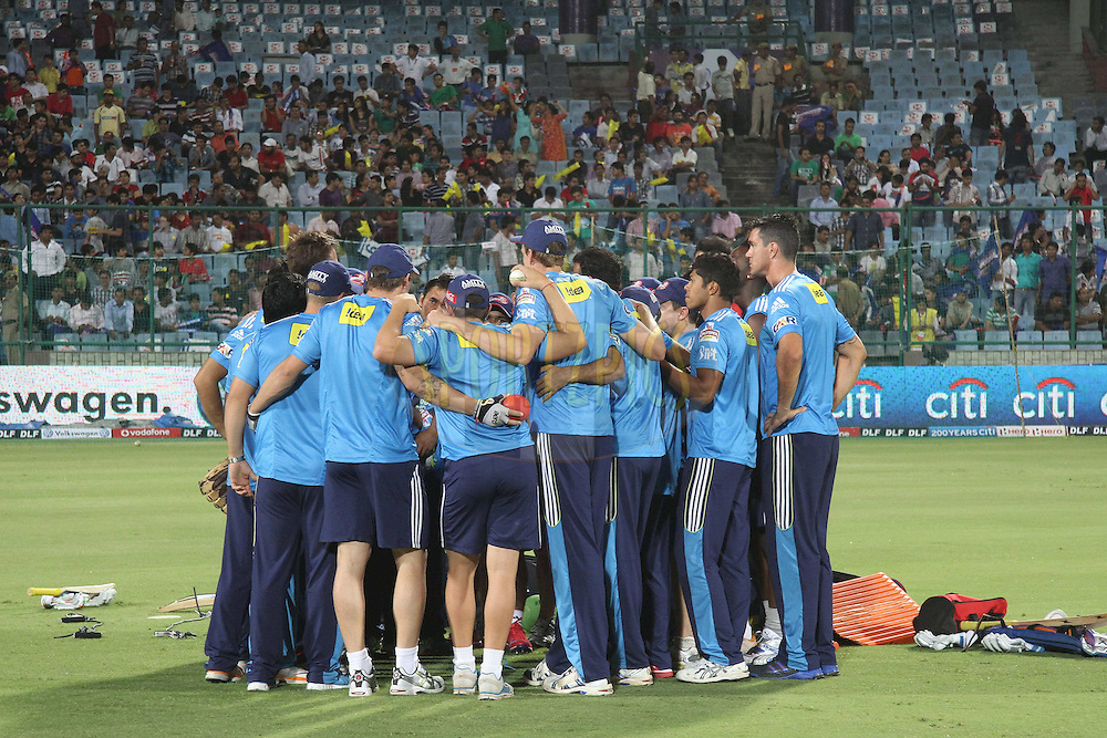 Delhi Daredevils huddle during match 11 of the the Indian Premier League ( IPL) 2012  between The Delhi Daredevils and the Chennai Superkings held at the Feroz Shah Kotla, Delhi on the 10th April 2012..Photo by Shaun Roy/IPL/SPORTZPICS
