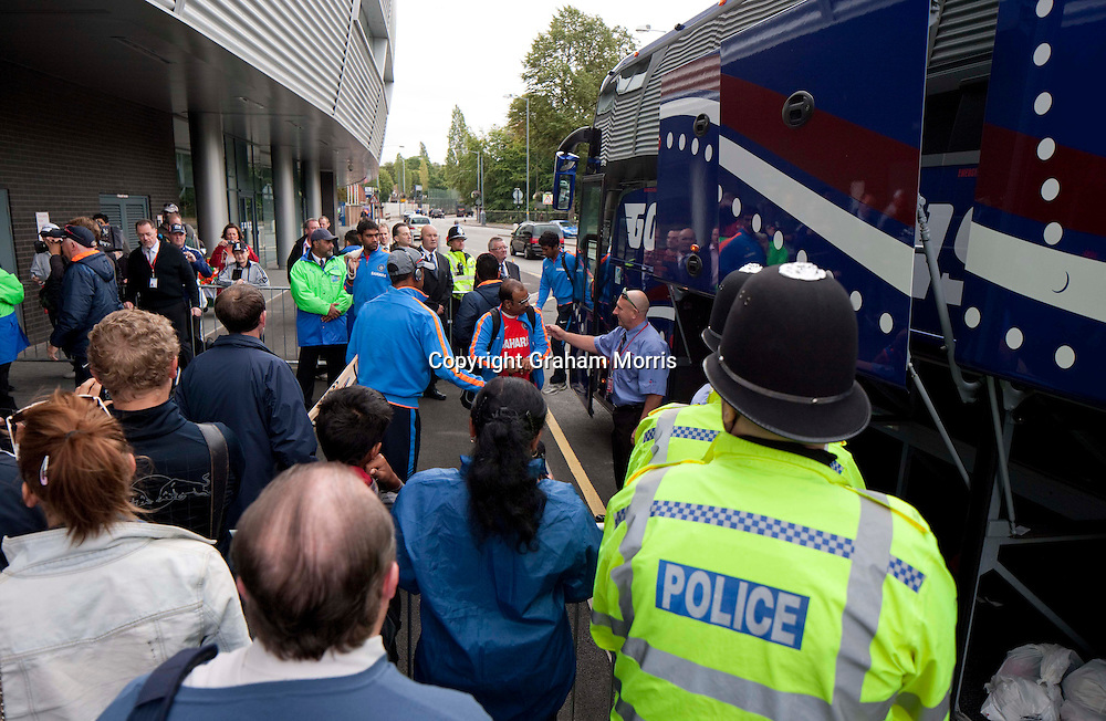 The Indian team arrive under police escort before the third npower Test Match between England and India at Edgbaston, Birmingham.  Photo: Graham Morris (Tel: +44(0)20 8969 4192 Email: sales@cricketpix.com) 10/08/11