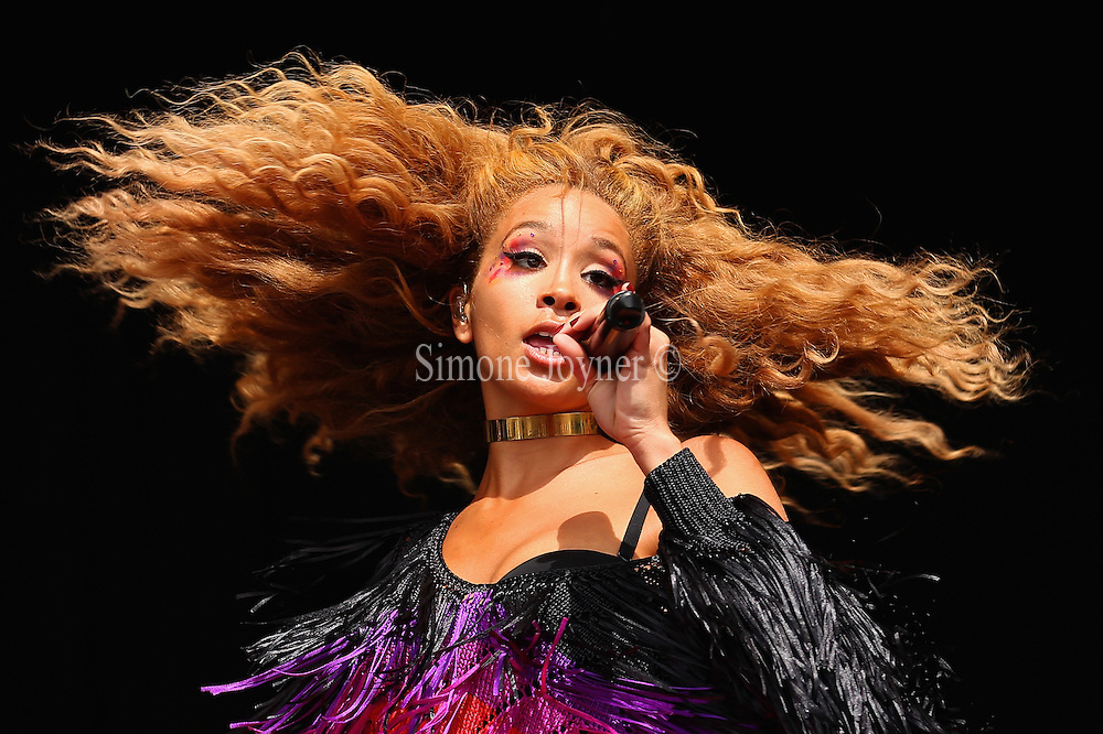 LONDON, ENGLAND - JULY 18:  Singer Jillian Hervey of Lion Babe performs live on the Main Stage during day two of Lovebox Festival 2015 at Victoria Park on July 18, 2015 in London, England.  (Photo by Simone Joyner/WireImage)