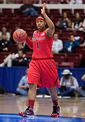 March 20, 2010; Stanford, CA, USA;  Rutgers Scarlet Knights guard Khadijah Rushdan (1) during the first half against the Iowa Hawkeyes in the first round of the 2010 NCAA womens basketball tournament at Maples Pavilion.  Iowa defeated Rutgers 70-63.