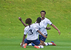 KIRKBY, ENGLAND - Saturday, August 10, 2019: Tottenham Hotspur's Tashan Oakley-Boothe (R) celebrates scoring the second goal during the Under-23 FA Premier League 2 Division 1 match between Liverpool FC and Tottenham Hotspur FC at the Academy. (Pic by David Rawcliffe/Propaganda)