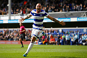 Queens Park Rangers defender Joel Lynch (6) celebrates his goal (score  during the EFL Sky Bet Championship match between Queens Park Rangers and Nottingham Forest at the Loftus Road Stadium, London, England on 29 April 2017. Photo by Andy Walter.