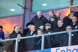 Hibs directors at the end.<br /> Falkirk 1 v 0 Hibernian, Scottish Championship game played 6/12/2014 at The Falkirk Stadium .