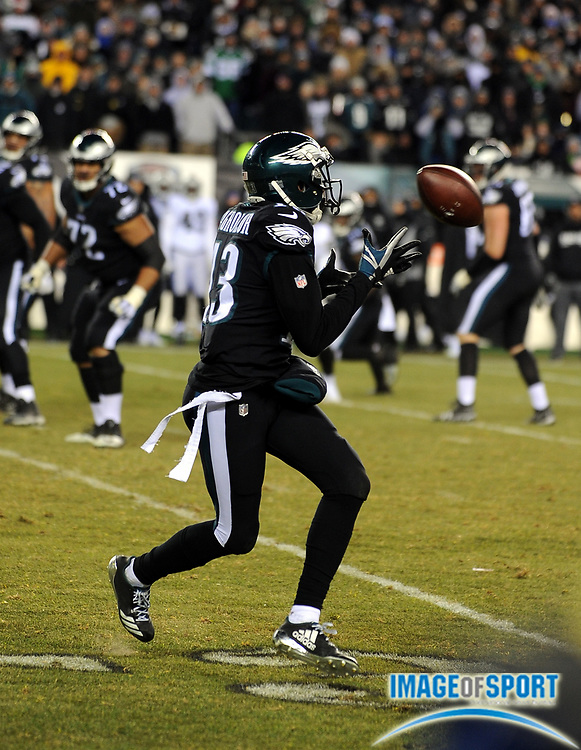 Dec 25, 2017; Philadelphia, PA, USA; Philadelphia Eagles wide receiver Nelson Agholor (13) during a NFL football game at Lincoln Financial Field. The Eagles defeated the Raiders 19-10. Photo by Reuben Canales
