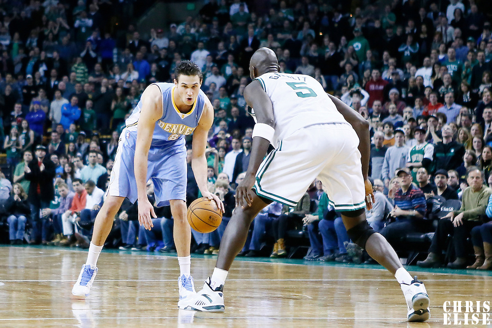 10 February 2013: Denver Nuggets small forward Danilo Gallinari (8) dribbles during the Boston Celtics 118-114 3OT victory over the Denver Nuggets at the TD Garden, Boston, Massachusetts, USA.