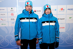 Igor Cuznar and Luka Pintaric of Nordic combined team during presentation of Team Slovenia for 1st Winter Youth Olympic Games in Innsbruck, Austria from 13 to 22 January 2012, on January 4, 2012 in Bled, Slovenia. (Photo By Vid Ponikvar / Sportida.com)