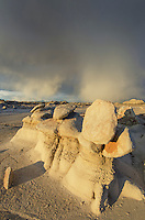 Approaching storm over Bisti Badlands, Bisti/De-Na-Zin Wilderness, New Mexico