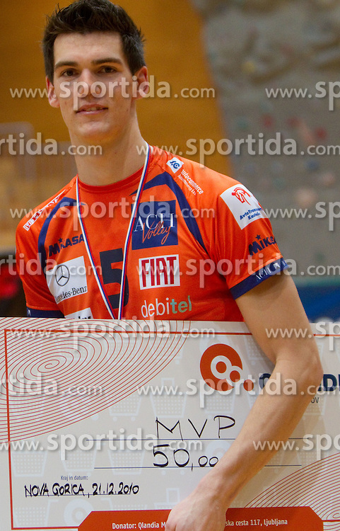Alen Sket of ACH Volley, MVP after the volleyball match between ACH Volley and UKO Kropa at Finals of Slovenian Cup 2010, on December 21, 2010 in Dvorana OS, Nova Gorica, Slovenia. ACH Volley defeated Kropa 3-0 and become Slovenian Cup Champion. (Photo By Vid Ponikvar / Sportida.com)