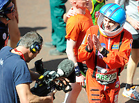 A runner in a spaceman outfit<br /> The Virgin Money London Marathon 2014<br /> 13 April 2014<br /> Photo: Javier Garcia/Virgin Money London Marathon<br /> media@london-marathon.co.uk