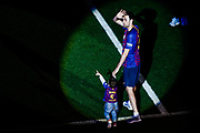 05 Sergi Busquets from Spain of FC Barcelona with his children during the Andres Iniesta farewell at the end of the La Liga football match between FC Barcelona and Real Sociedad on May 20, 2018 at Camp Nou stadium in Barcelona, Spain - Photo Xavier Bonilla / Spain ProSportsImages / DPPI / ProSportsImages / DPPI