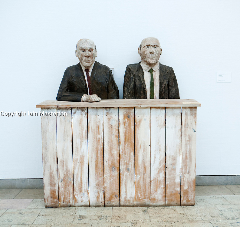 Sculpture called The Bureaucrats at Goteborgs art museum or Konstmuseum in Gothenburg Sweden August 2009