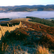 Morning autumnal mist hanging over Peebles in the Tweed Valley from the Drovers Road