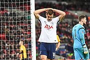 Tottenham Hotspur Forward Fernando Llorente (18) misses a chance during the The FA Cup 4th round replay match between Tottenham Hotspur and Newport County at Wembley Stadium, London, England on 7 February 2018. Picture by Stephen Wright.