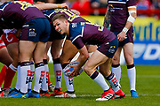 Leeds Rhinos hooker Matt Parcell (9) at the base of the scrum during the Betfred Super League match between Hull Kingston Rovers and Leeds Rhinos at the Lightstream Stadium, Hull, United Kingdom on 29 April 2018. Picture by Simon Davies.