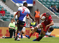 May 26, 2019 - Twickenham, England, United Kingdom - Can Devine of Wales.during The HSBC World Rugby Sevens Series 2019 London 7s Challenge Trophy Quarter Final Match 27 between Wales and Japen at Twickenham on 26 May 2019. (Credit Image: © Action Foto Sport/NurPhoto via ZUMA Press)