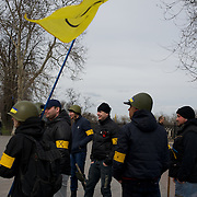 ODESSA, UKRAINE - March 16, 2014: Anti-Russia self-defence groups gather beside Duc Richelieu statue in central Odessa, in preparation for an eventual provocation by pro-Russia elements. CREDIT: Paulo Nunes dos Santos