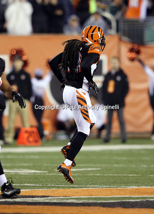 Cincinnati Bengals free safety Reggie Nelson (20) hobbles on an injured ankle after a second quarter sack on Pittsburgh Steelers quarterback Ben Roethlisberger (7) for a loss of 10 yards during the NFL AFC Wild Card playoff football game against the Pittsburgh Steelers on Saturday, Jan. 9, 2016 in Cincinnati. The Steelers won the game 18-16. (©Paul Anthony Spinelli)