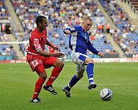 Photo: Tony Oudot/Richard Lane Photography. Leicester City v Barnsley. Coca Cola Championship. 22/08/2009. <br /> Nicky Adams of Leicester City with Mounir El Haimour of Barnsley