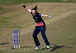 Anya Shrubsole of England Women celebrates taking the wicket of Elyse Villani of Australia Women - Mandatory by-line: Robbie Stephenson/JMP - 09/07/2017 - CRICKET - Bristol County Ground - Bristol, United Kingdom - England v Australia - ICC Women's World Cup match 19