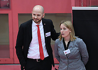 Volleyball 1. Bundesliga  Saison 2018/2019 TV Rottenburg - SVG Lueneburg    10.02.2019 TV Rottenburg Managment; Manager Philipp Vollmer (li) und Lajana Kampf (Teammanagerin)