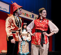 Alex Jacobs as Wishy Washy, Katherine Proulx as Aladdin and Rebecca Tucker as the Princess (in back) during dress rehearsal for the zany, musical Aladdin production at the Winnipesaukee Playhouse on Thursday evening.  (Karen Bobotas/for the Laconia Daily Sun)