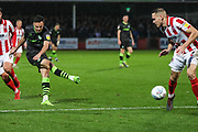 Forest Green Rovers Aaron Collins(10) shoots at goal during the EFL Sky Bet League 2 match between Cheltenham Town and Forest Green Rovers at Jonny Rocks Stadium, Cheltenham, England on 2 November 2019.