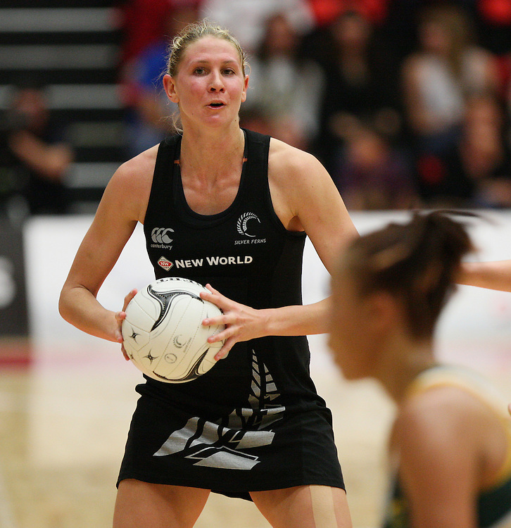 New Zealand's Casey Williams against South Africa in the New World Quad series netball match, TECT Arena, Tauranga, New Zealand, Sunday, October 28, 2012. Credit:SNPA / Dianne Manson.