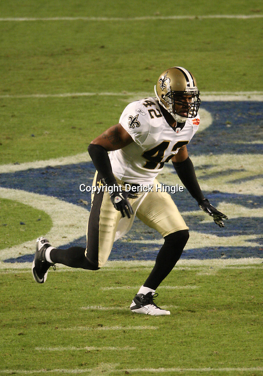 2010 February 07: New Orleans Saints safety Darren Sharper (42) on the field during a 31-17 win by the New Orleans Saints over the Indianapolis Colts in Super Bowl XLIV at Sun Life Stadium in Miami Gardens, Florida.