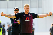 Ben Stokes of England warming up with Jack Leach of England ahead of the second days play at the International Test Match 2019, fourth test, day two match between England and Australia at Old Trafford, Manchester, England on 5 September 2019.