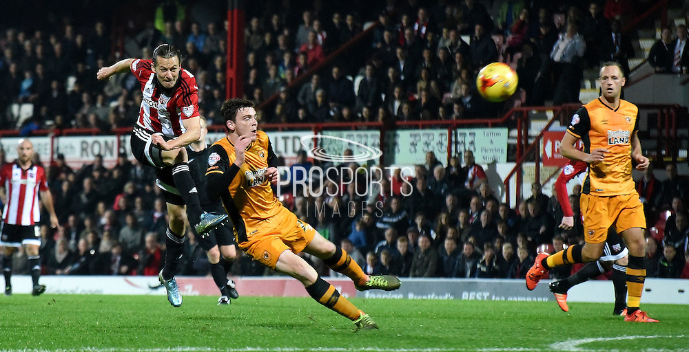 Lasse Vibe tries his luck from distance during the Sky Bet Championship match between Brentford and Hull City at Griffin Park, London, England on 3 November 2015. Photo by Michael Hulf.