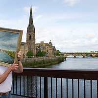 Art on the River, part of the Perth Festival of the Arts....19.05.11<br /> Artist Ian Cuthbert Imrie from Bridge of Earn with his painting 'Silvery Tay' which will be exhibited during Art on the River which is a two day event giving local artists from perth & Kinross the opportunity to exhibit their work to a wider audience. The market of forty stalls will run alongside the River Tay on Tay Street on the 28th & 29th May.<br /> Picture by Graeme Hart.<br /> Copyright Perthshire Picture Agency<br /> Tel: 01738 623350  Mobile: 07990 594431
